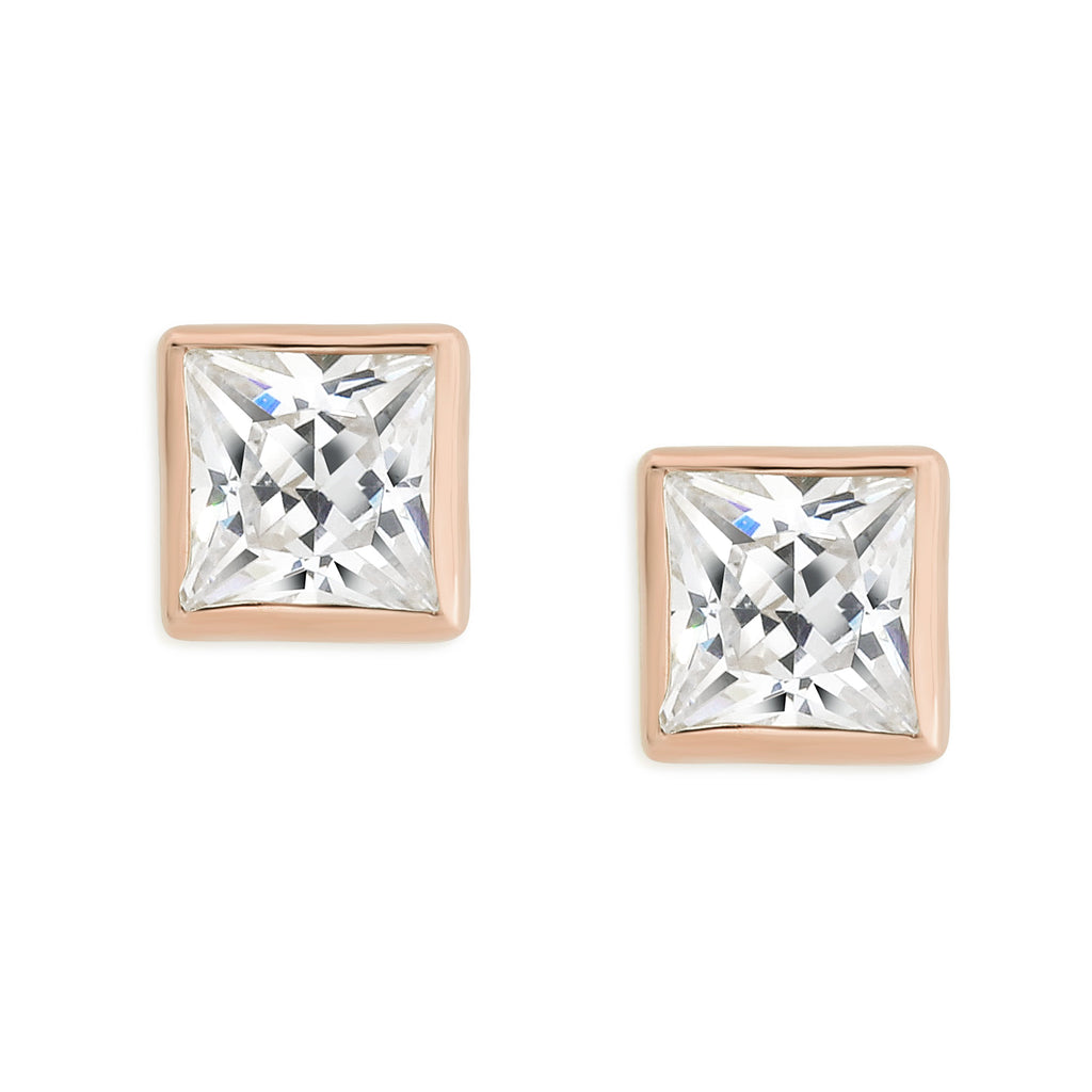 9ct rose gold square stone set studs (4mm)