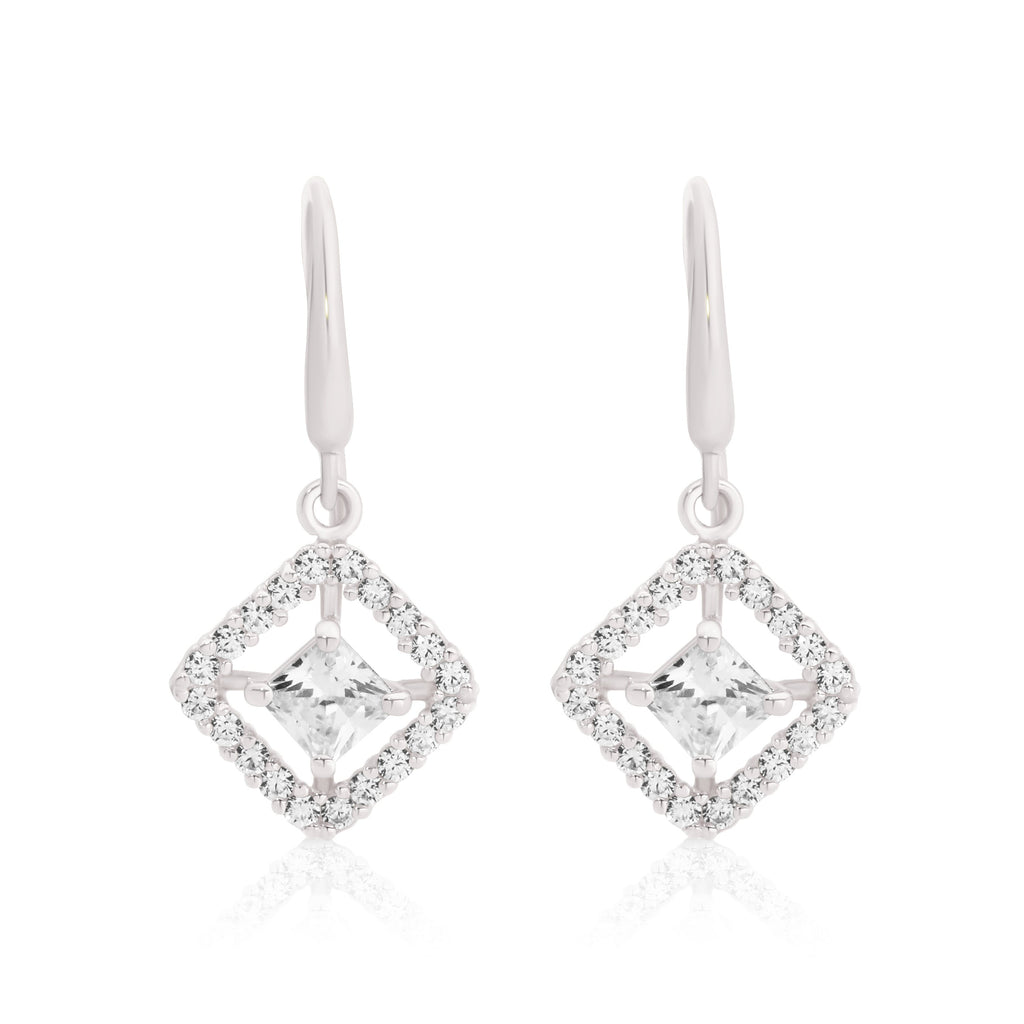 9ct white gold stone set drop earrings