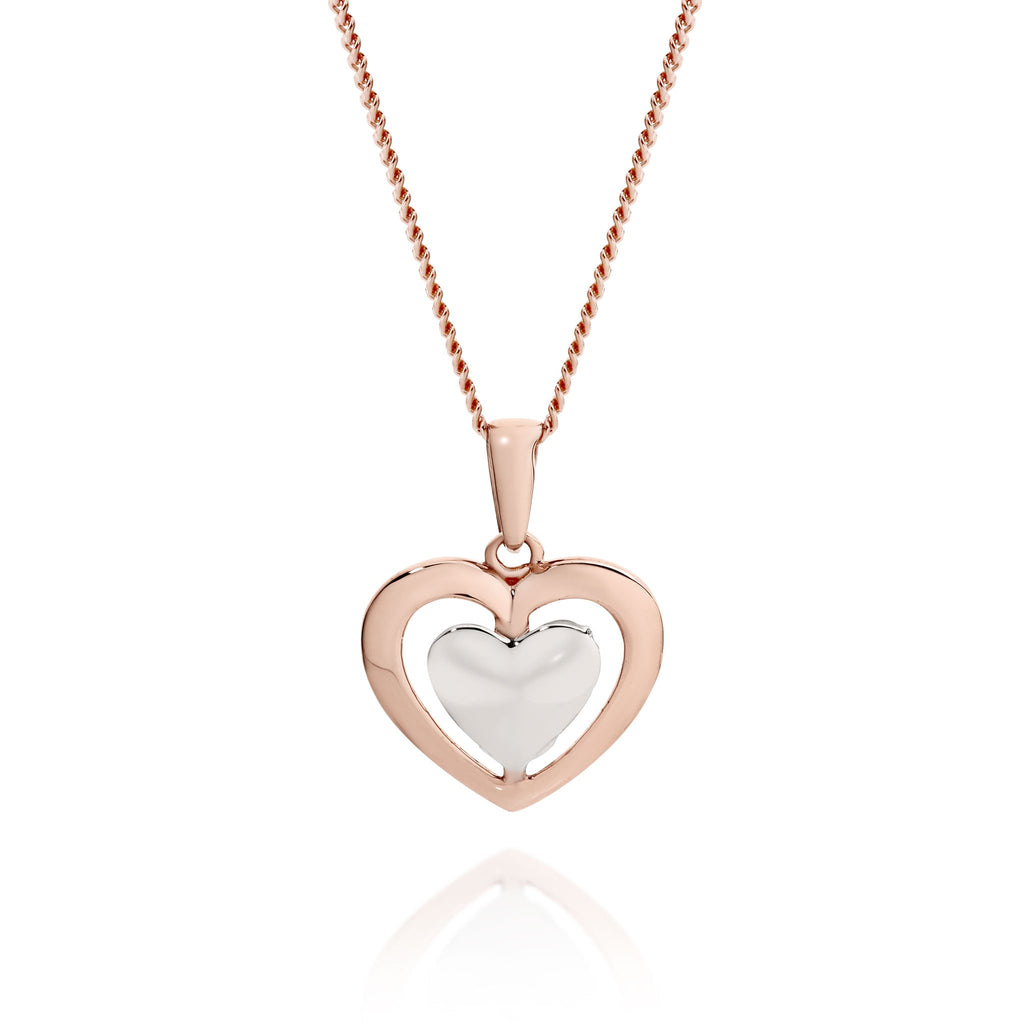 Rose & 9ct white gold heart pendant