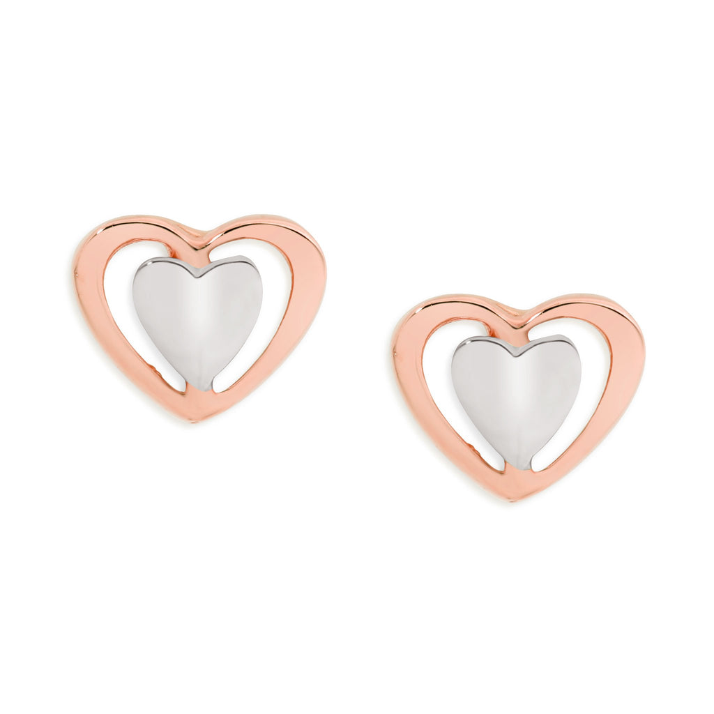 9ct rose & white gold heart earrings