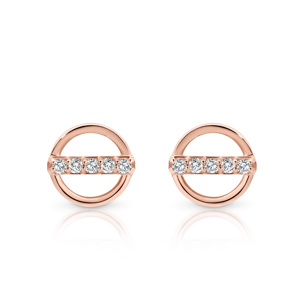 9ct rose gold circle studs