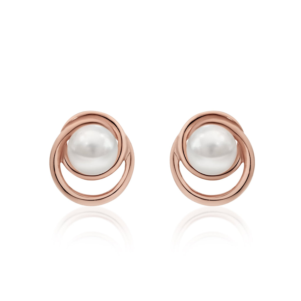 9ct rose gold pearl studs