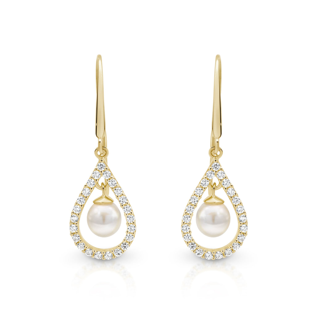 9ct gold tear drop pearl drop earrings