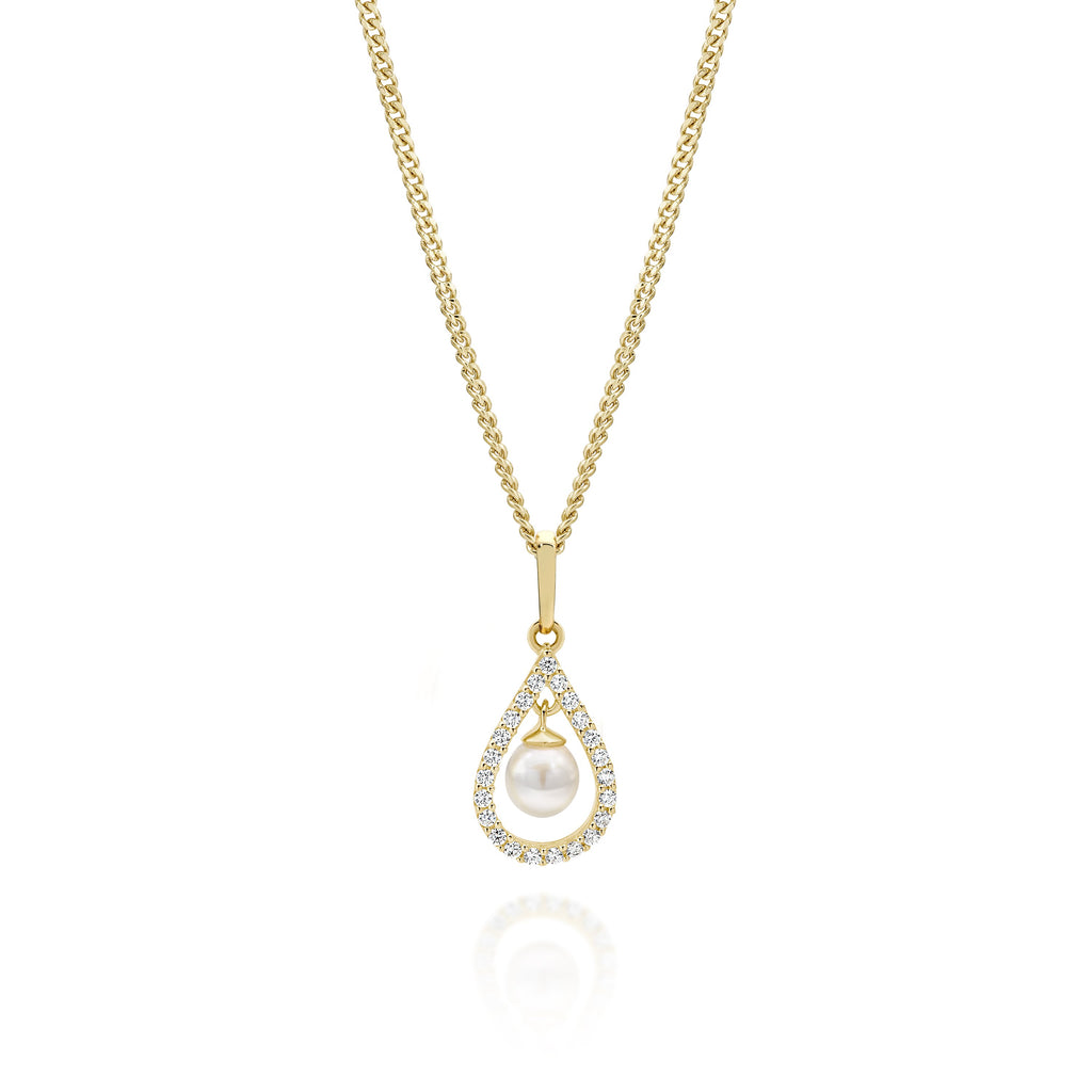 9ct gold tear drop pearl pendant