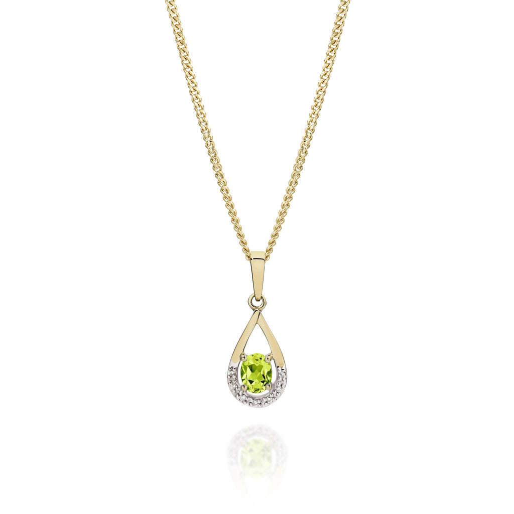 9ct peridot & diamond pendant