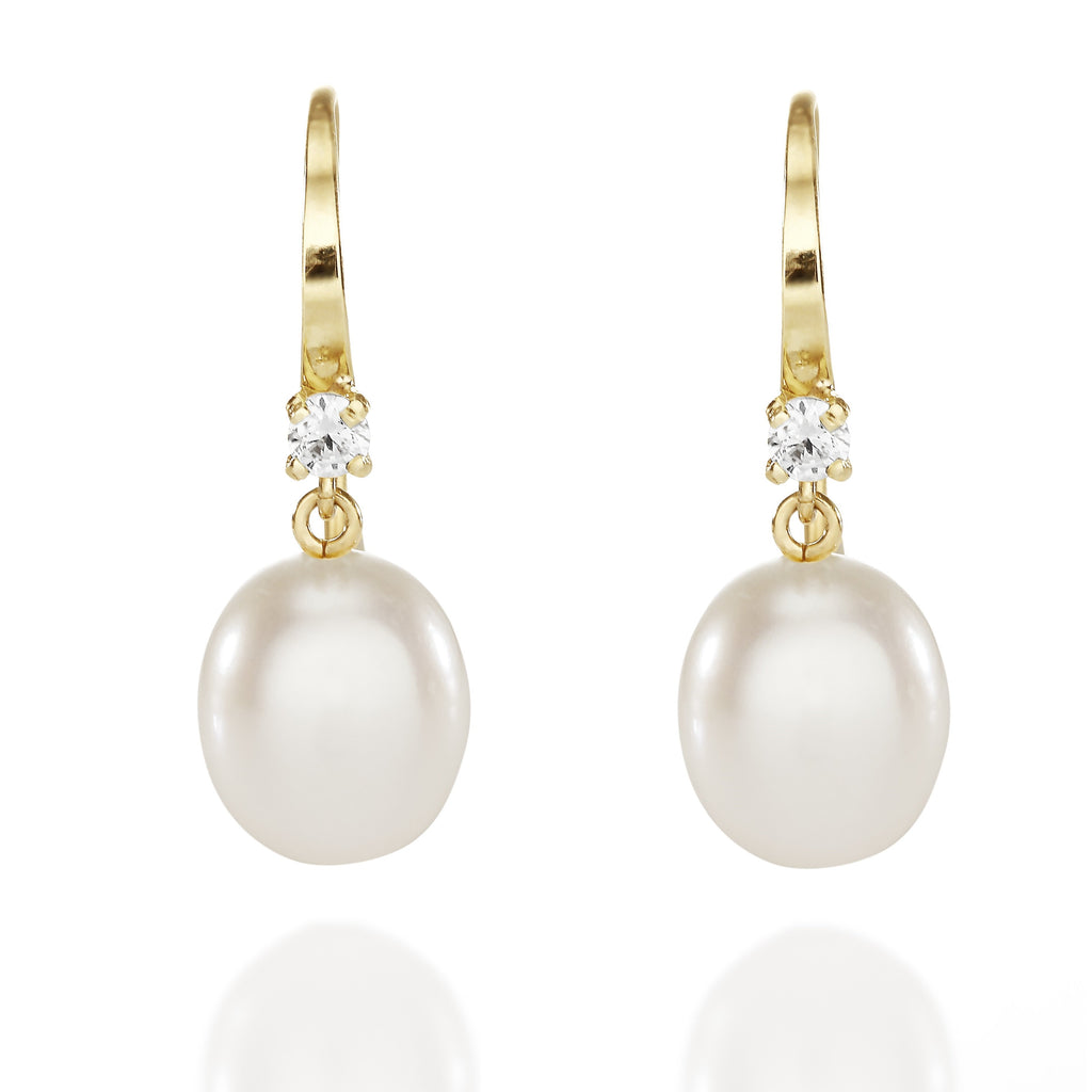 9ct gold freshwater pearl & stone set drops