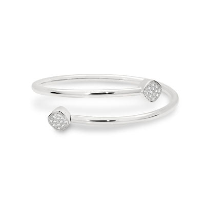 CANDID SS 4mm cuff bangle with cubic zirconia and removable end