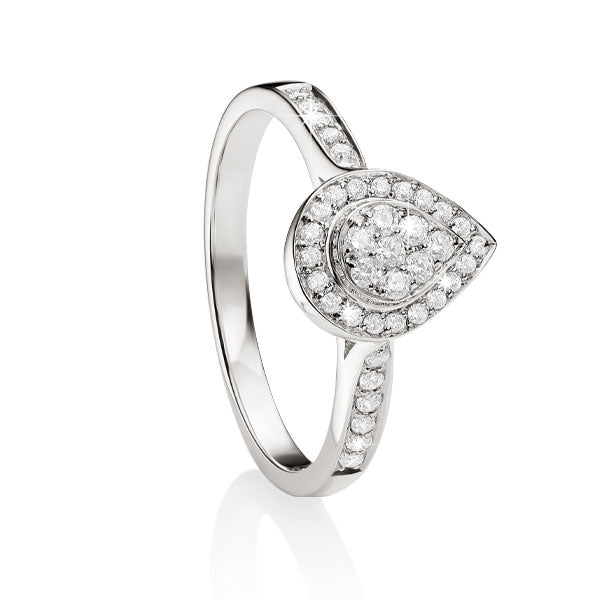 9ct white gold 0.36ct+ diamond cluster Ring