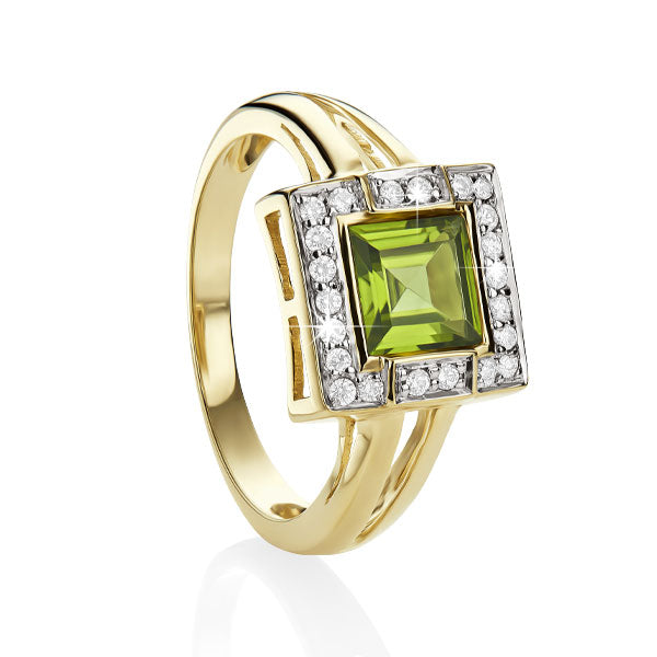 9ct YG square peridot & diamond ring
