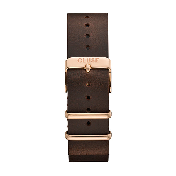 CLUSE 20mm Nato Leather Dark Brown/Rose Gold Strap