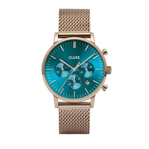 CLUSE Aravis Chrono Mesh Rose Gold Ocean Blue/Rose Gold