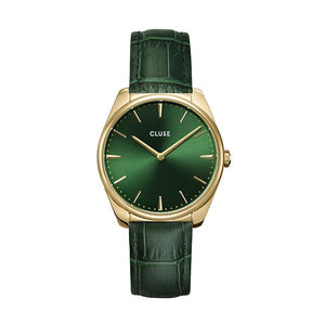 CLUSE Feroce 33 Gold Forest Green/ Forest Green Croc Leather
