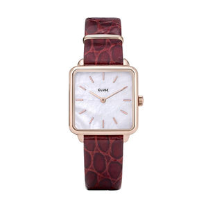 CLUSE La Tetragone Leather Rose Gold White Pearl/Dark Red