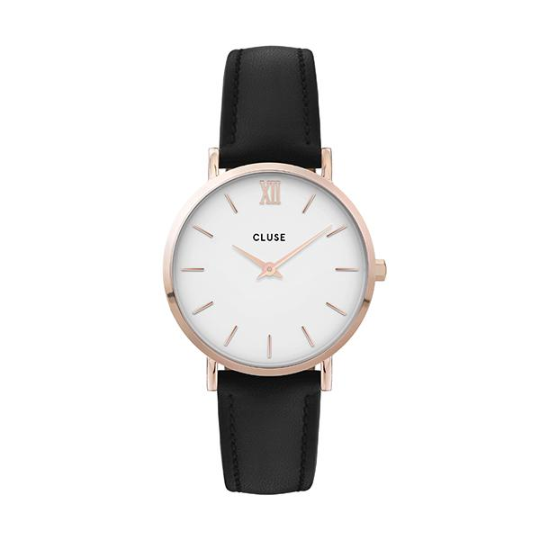 CLUSE Minuit Rose Gold White/Black Leather