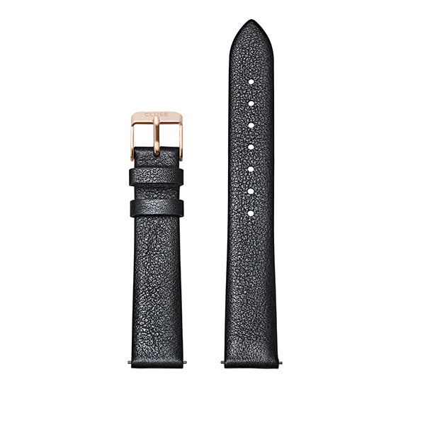 CLUSE Strap 16 mm Leather Dark Grey Metallic/ Rose Gold