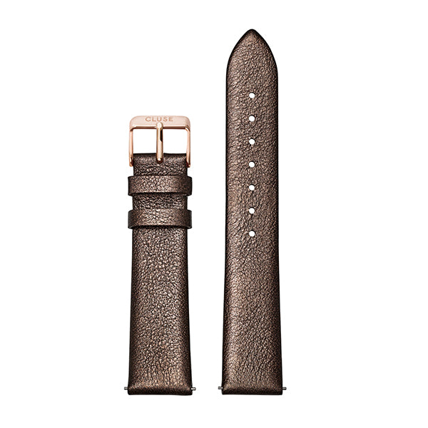 CLUSE Strap 18 mm Leather Chocolate Brown Metallic/ Rose Gold