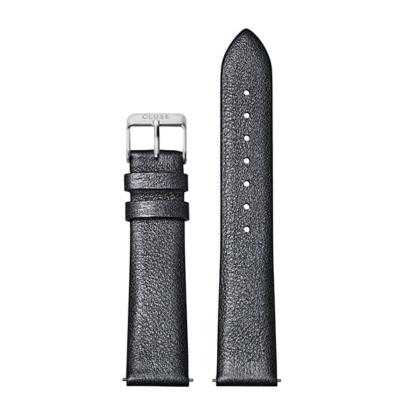 CLUSE Strap 18 mm Leather Dark Grey Metallic/ Silver