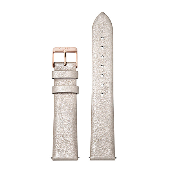CLUSE Strap 18 mm Leather Warm White Metallic/ Rose Gold
