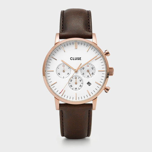 Cluse Aravis Chrono Rose Gold/White/Brown
