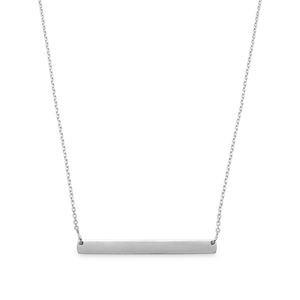 Candid Sterling Silver Polished Bar Necklet 45cm