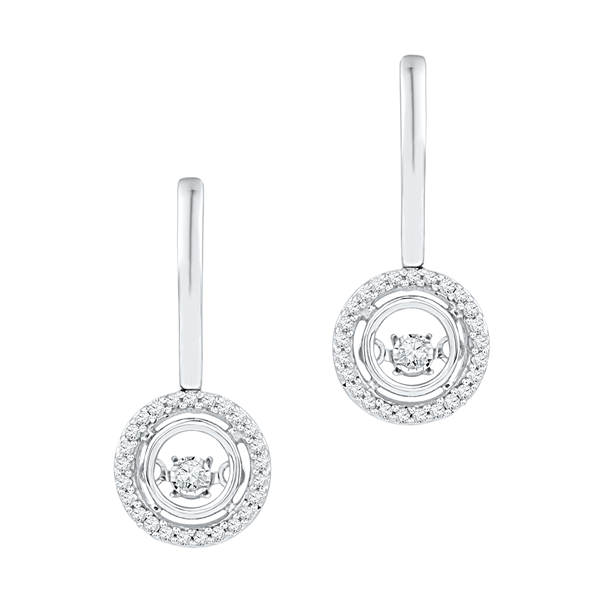 Dancing Diamonds 9ct halo drop earrings