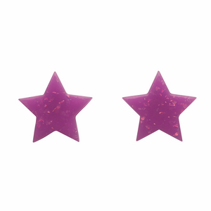 Star Solid Glitter Resin Stud Earrings - Purple