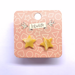 Star Marble Resin Stud Earrings - Yellow