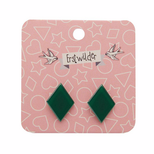 Essentials Diamond Studs - Bubble Resin Forest Green