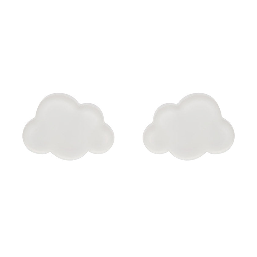 Cloud Bubble Resin Stud Earrings - White