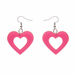 Heart Bubble Resin Drop Earrings - Pink