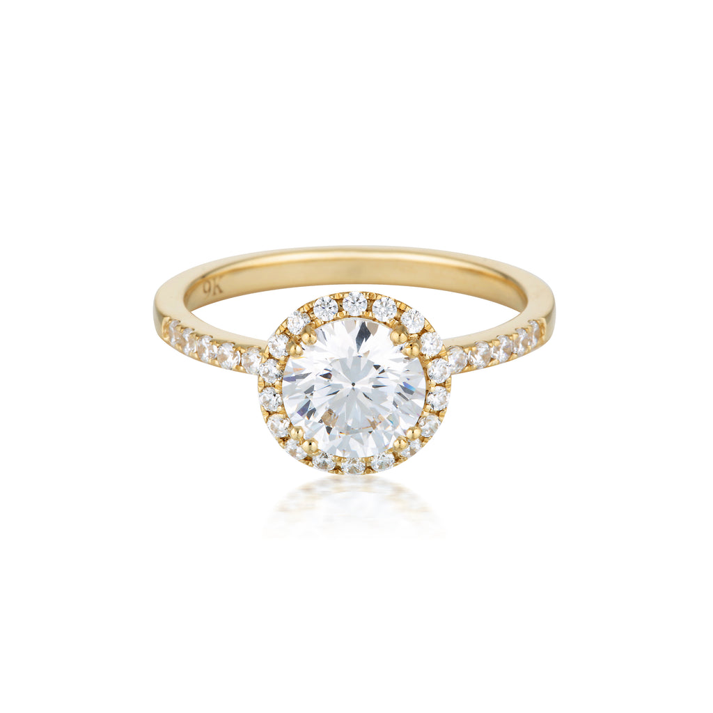 GEORGINI Brilliant Cut Gold Halo Engagement Ring