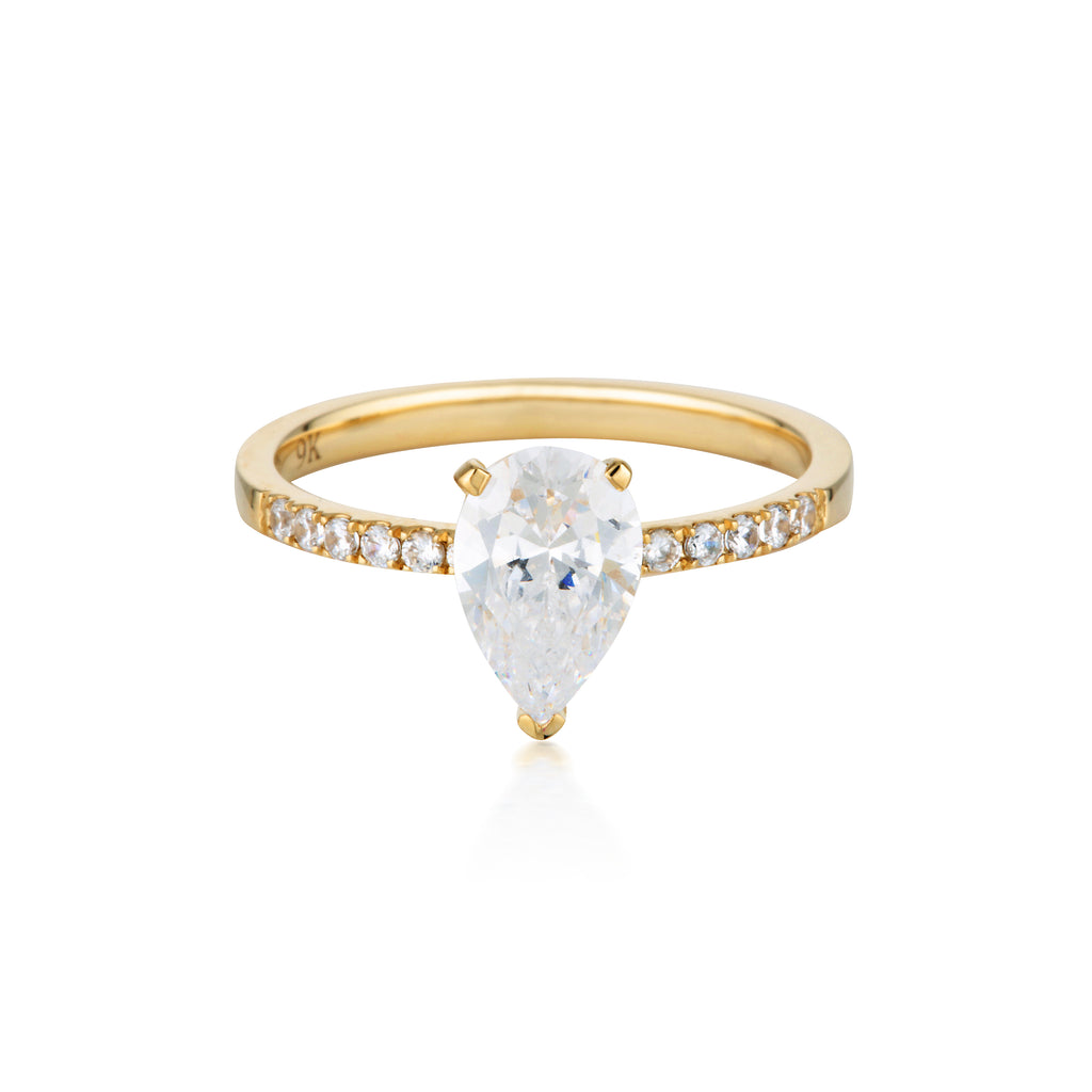 GEORGINI Pear Cut Gold Engagement Ring