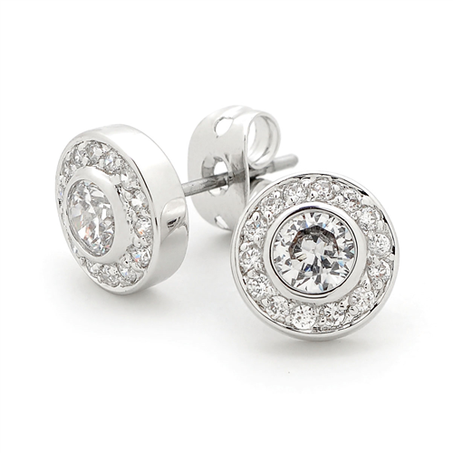 GEORGINI CZ Round Silver Earrings