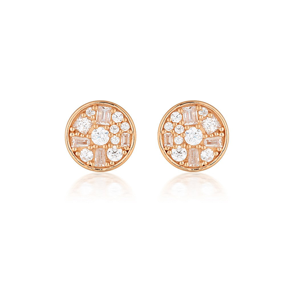 GEORGINI Mini Mosaic Rose Gold Stud Earrings