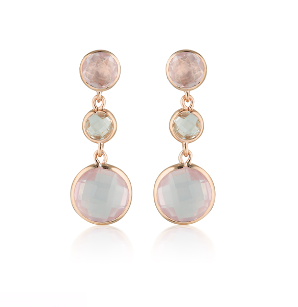 GEORGINI Diantha Rose Quartz Rose Gold Drop Earrings