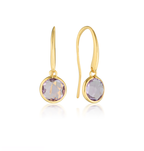 GEORGINI Lucent Amethyst Gold Hook Earrings - Small