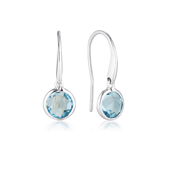 GEORGINI Lucent Blue Topaz Silver Hook Earrings - Small
