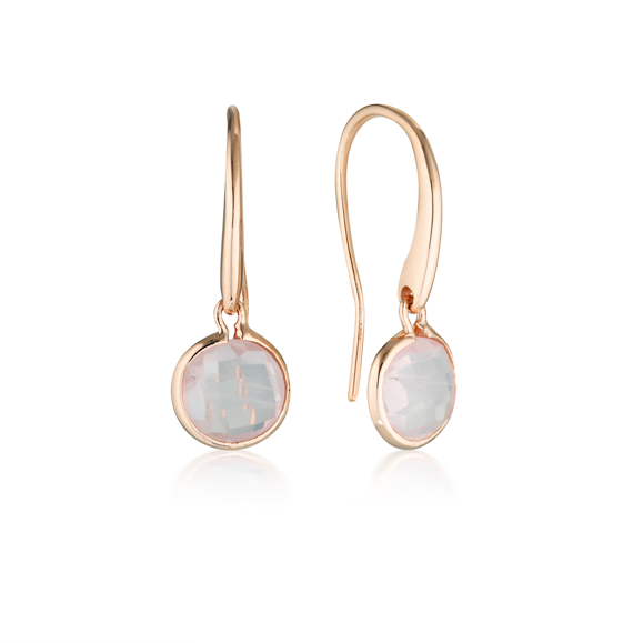 GEORGINI Lucent Rose Quartz Rose Gold Hook Earrings - Small