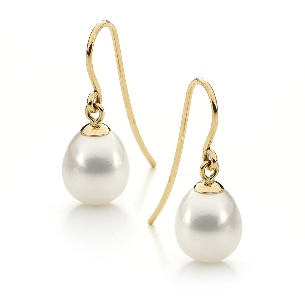 9ct yellow gold freshwater pearl earrings