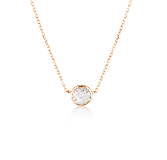 GEORGINI Lucent White Topaz Rose Gold Necklace