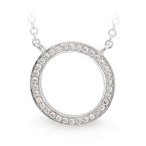 MMJ - Diamond Bead Set Circle Pendant