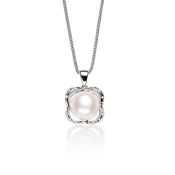 MP5557 Sterling Silver Mabe Pearl Pendant with CZ