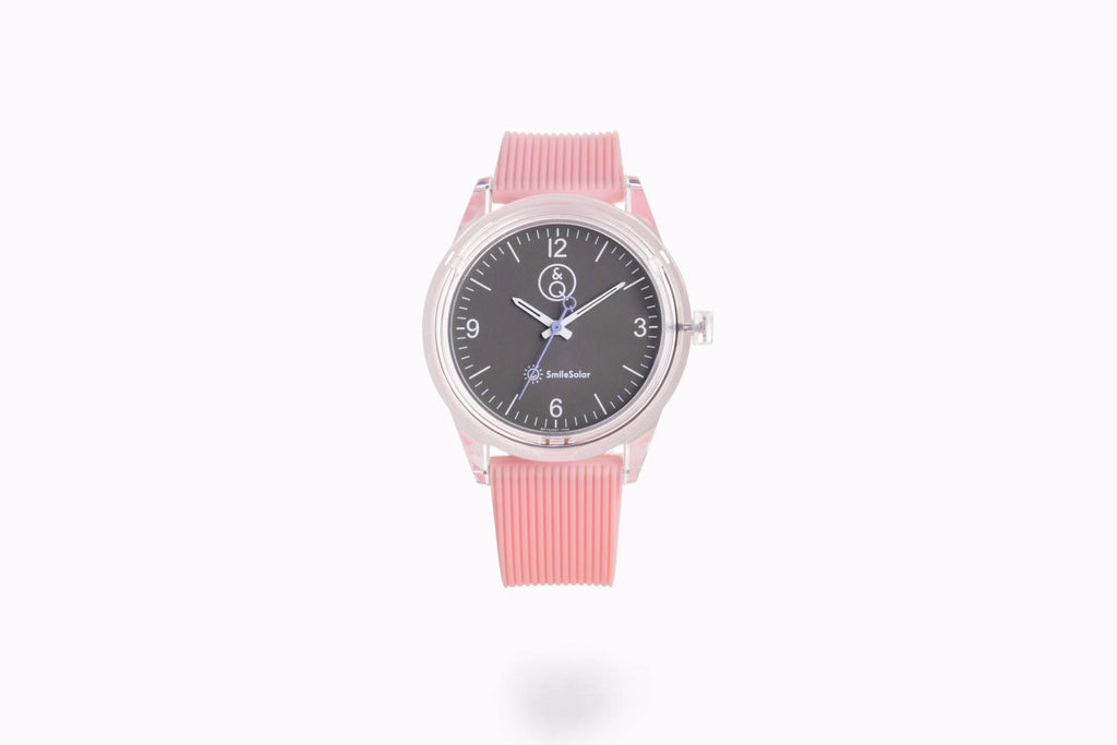 Q&Q Smile Solar Watch, Baby Pink