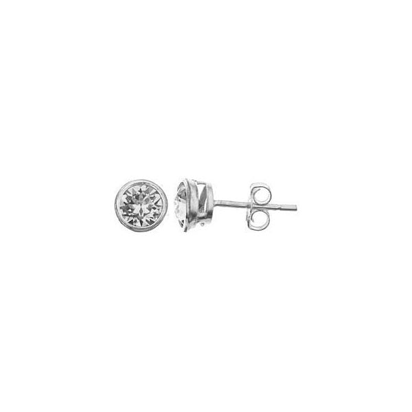 SS 5mm bezel set CZ stud earrings