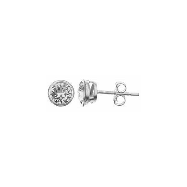 SS 6mm bezel set CZ stud earrings