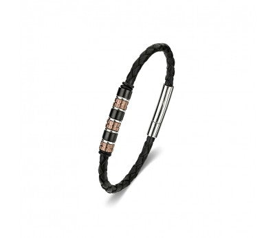 Black leather bangle with beads, Stainless steel