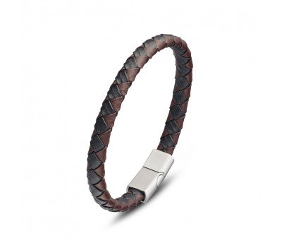 Black & brown leather bangle, Stainless steel