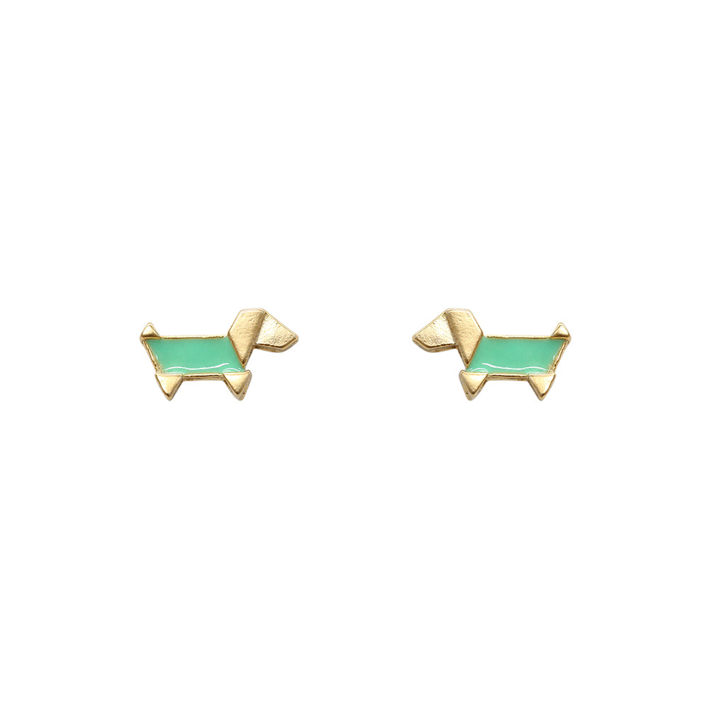 Gold Origami Dog Studs, Green