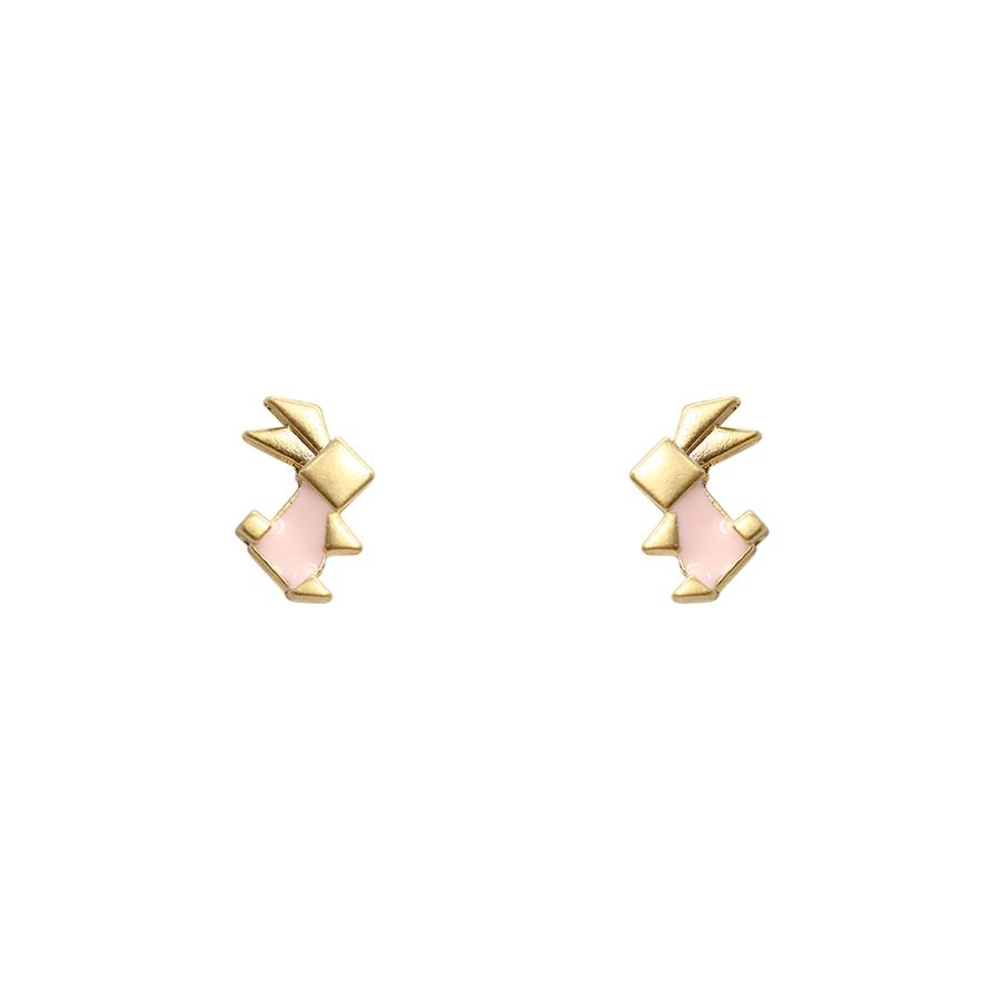 Gold Origami Rabbit Studs, Pink
