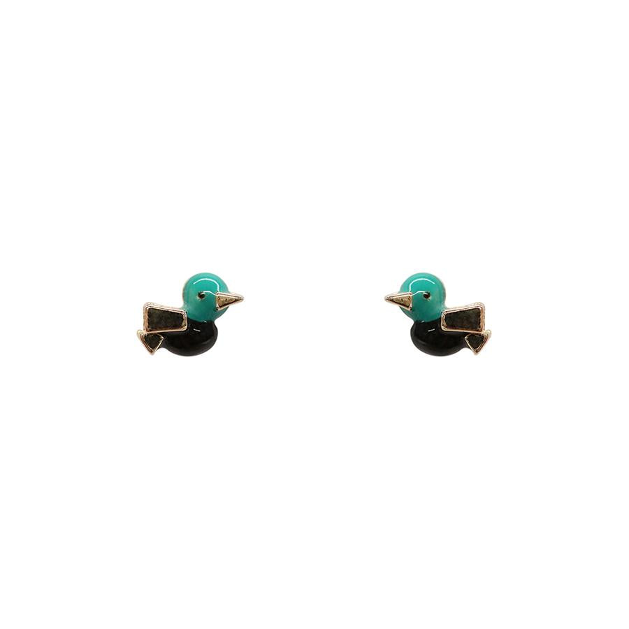 Gold Little Duck Studs, Green